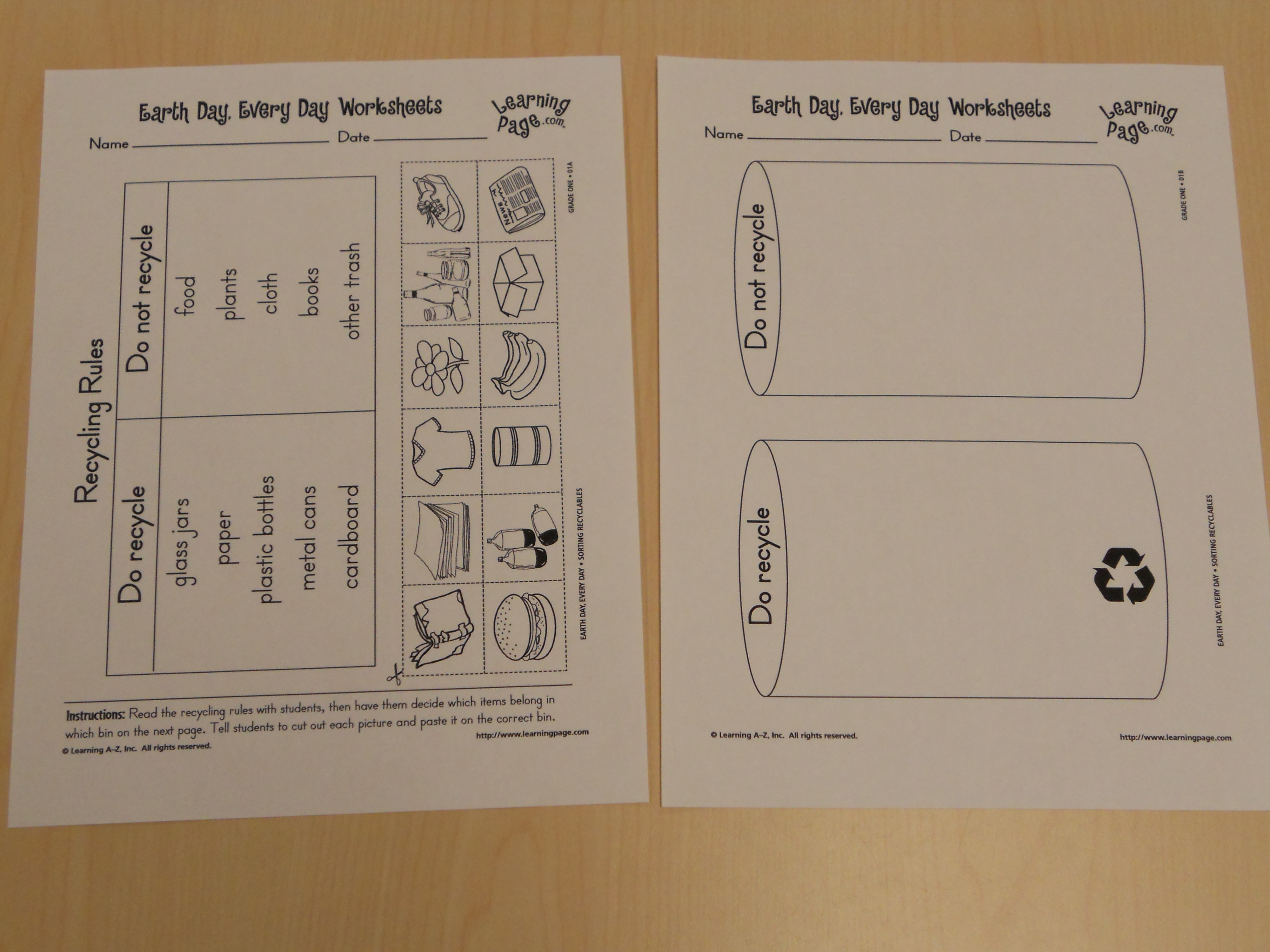 My Montessori Journey: Earth Week: Recycling Cut and Paste Activity
