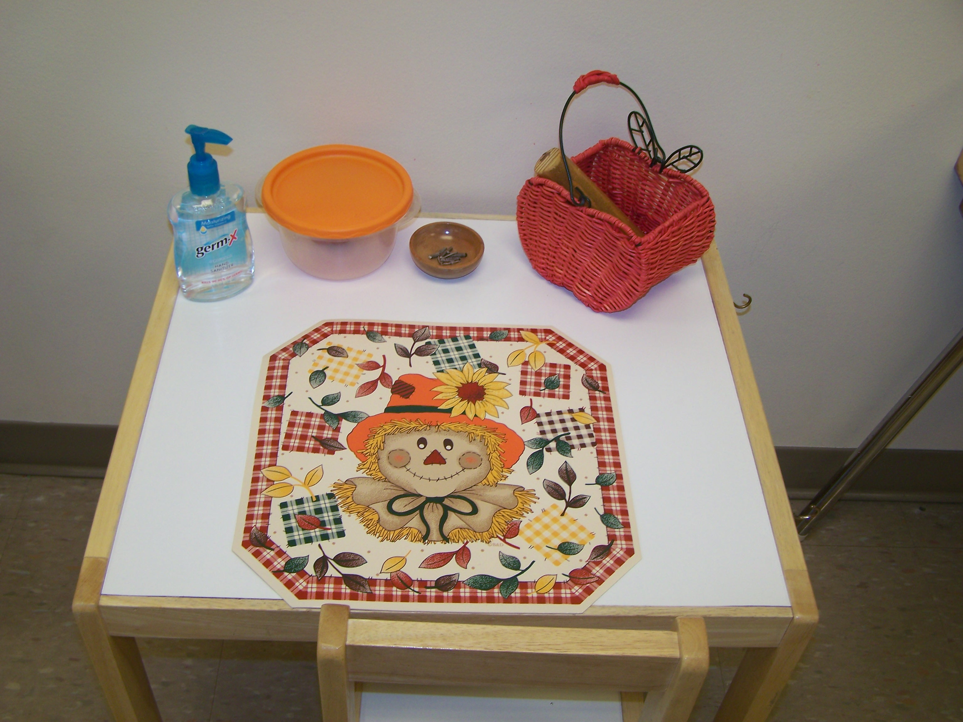 Playdough Table with Apple Playdough (Photo from My Montessori Journey)